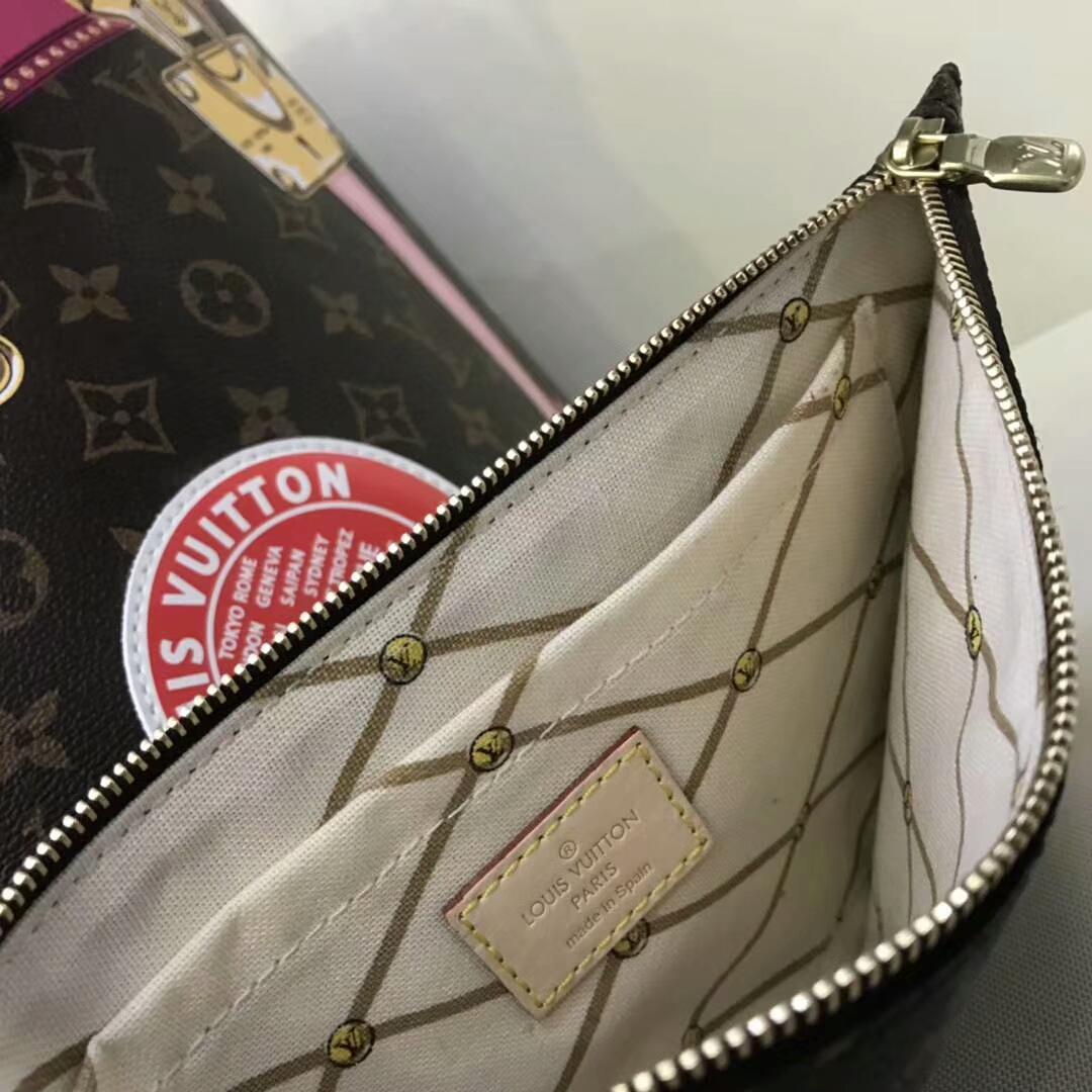 广州白云皮具城 LV2018春夏限量款购物袋40156 经典带着少女风 卡通手绘风格