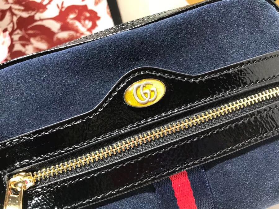 GUCCI全新系列搭配 Ophidia 腰包 517076 深蓝色,牛麂皮经典搭配复古风潮 17.5×12×5.5cm