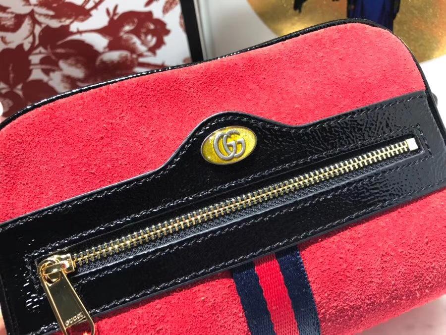 GUCCI全新系列搭配 Ophidia 腰包 517076 红色,牛麂皮经典搭配复古风潮 17.5×12×5.5cm(680)