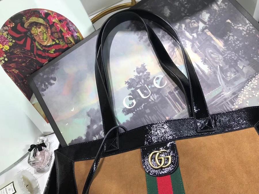 GUCCI2018最新购物袋 519335 土黄色 超级大包很能装包配小pouch 整体复古韵味柔美 凹造型尤物 41×43×5.5cm