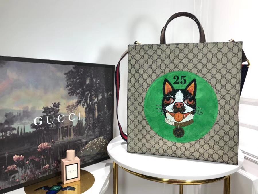 Gucci 特别推出以萌犬为主角的中国新年特别购物袋 450950 绿色 寻找青春的气息 22×2914cm