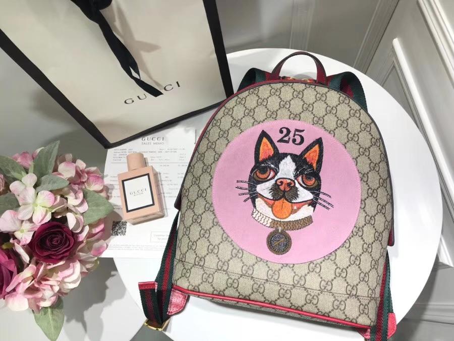 Gucci 特别推出以萌犬为主角的中国新年特别背包 495621 粉色 寻找青春的气息 22×29×14cm