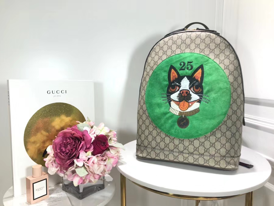 Gucci Supreme Bosco Backpack 狗狗刺绣双肩包背包 505372 绿色 31.5×41×14.5cm
