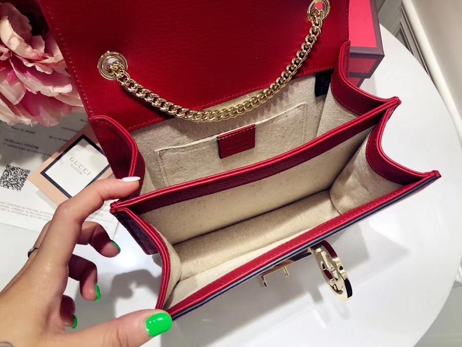 GUCCI全新爆款小方包 510304 红色 进口五金配件 皮质柔软 设计玩味时尚,最经典的回忆 20×15×7.5cm