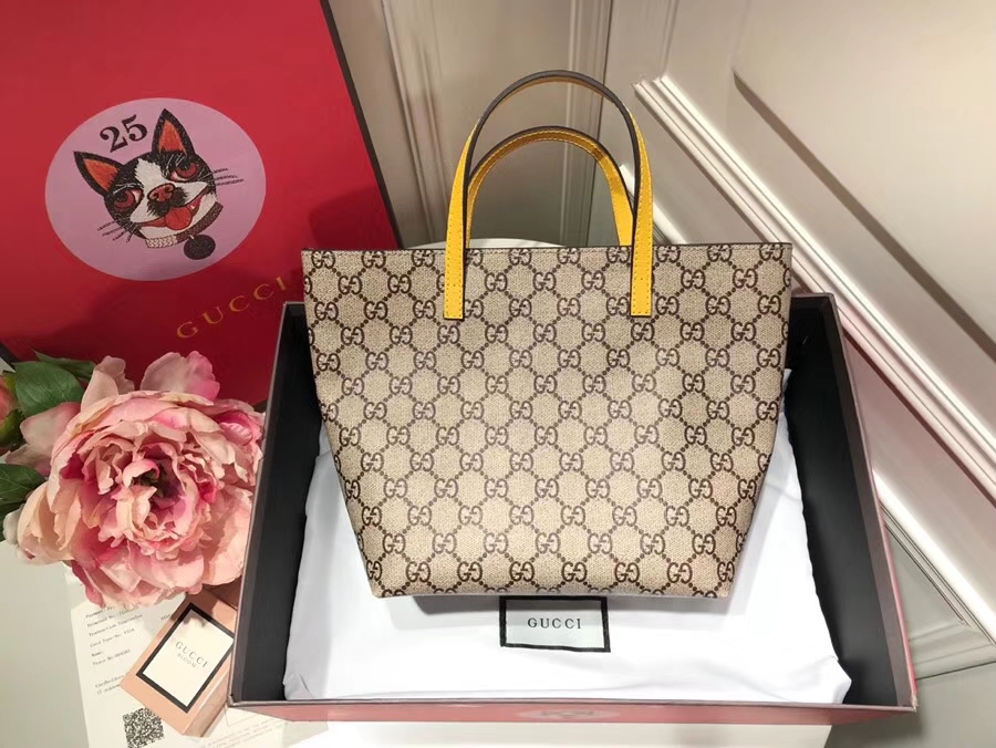 Gucci最萌的mini卡通购物袋 410812 黄色手柄 撩翻你的少女,风靡时尚 21×20×10cm