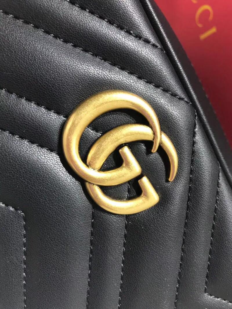 GUCCI最新 Marmont 绗缝链条包 448065 黑色 链带波浪纹肩背包 牛皮面料尽显时尚魅力 明星最新爱宠小包当道 18cm