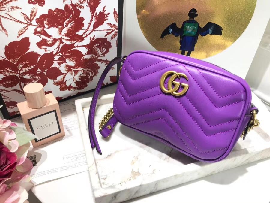 GUCCI最新 Marmont 绗缝链条包 448065 紫色 链带波浪纹肩背包 牛皮面料尽显时尚魅力 明星最新爱宠小包当道 18cm