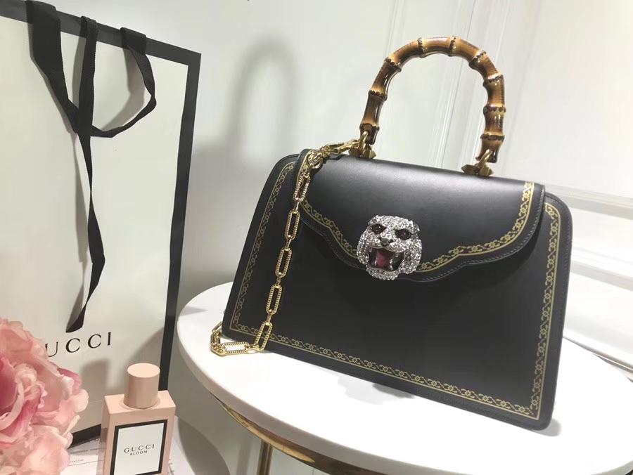 Gucci 专柜新款来袭熠熠生辉的水晶和虎头缀饰 495881 黑色 绰约风姿从指间流露 30×21×13cm