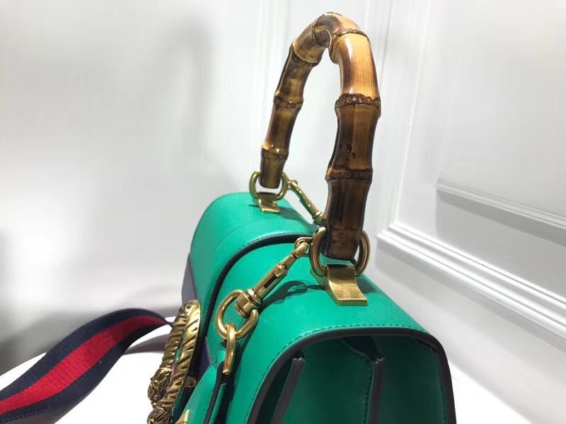 GUCCI Dionysus 虎头扣 448075 绿色+深蓝+红色 精选原版小牛皮,天然竹节手柄,双层包身,双层肩带 27×18×13cm