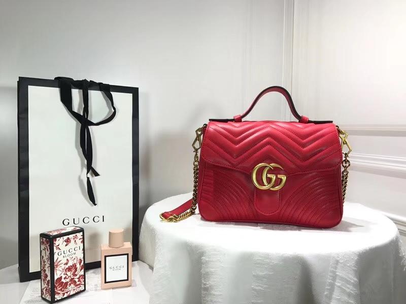 GUCCI 新系列双G Marmont 498100 红色 标志性的双G logo 25×19×8cm