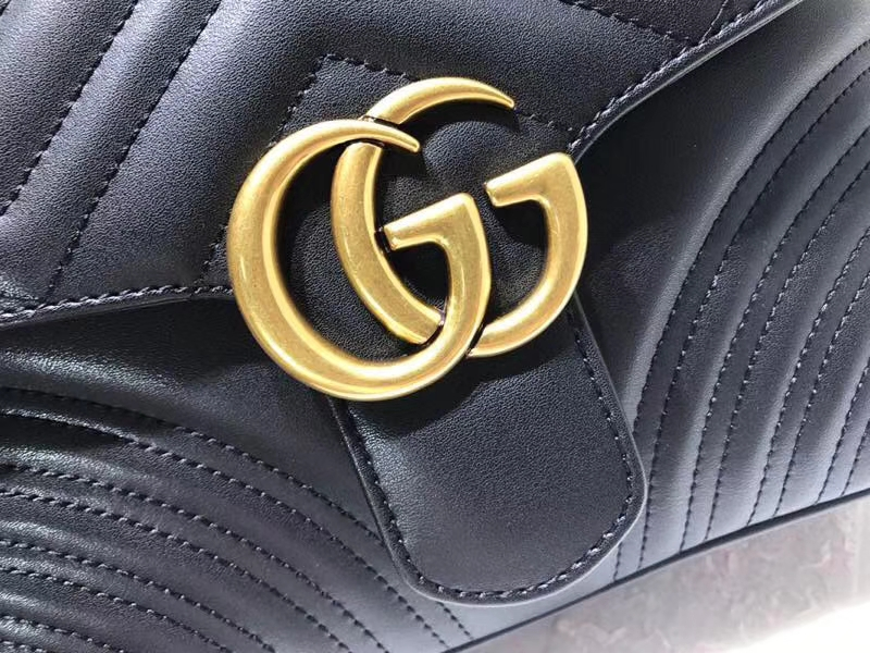 GUCCI 新系列双G Marmont 498100 黑色  标志性的双G logo 25×19×8cm