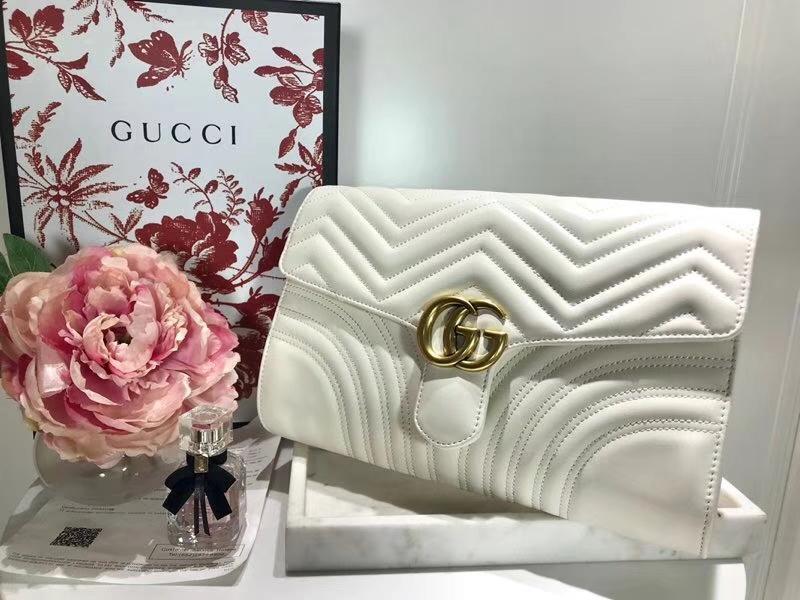 GUCCI 最新款手包 GG系列手包波浪纹链条包 498079 白色 精选小牛皮 30×20×4cm