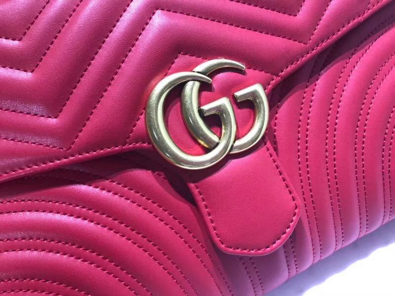 GUCCI 最新款手包 GG系列手包波浪纹链条包 498079 红色 精选小牛皮 30×20×4cm