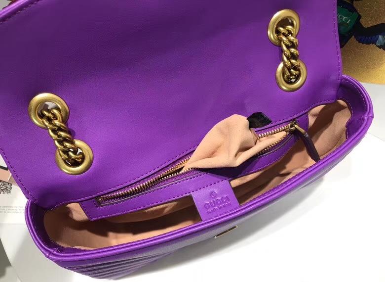 GUCCI最新 Marmont 绗缝链条包 443497 链带波浪纹肩背包 名模明星最新爱宠小包当道 26cm