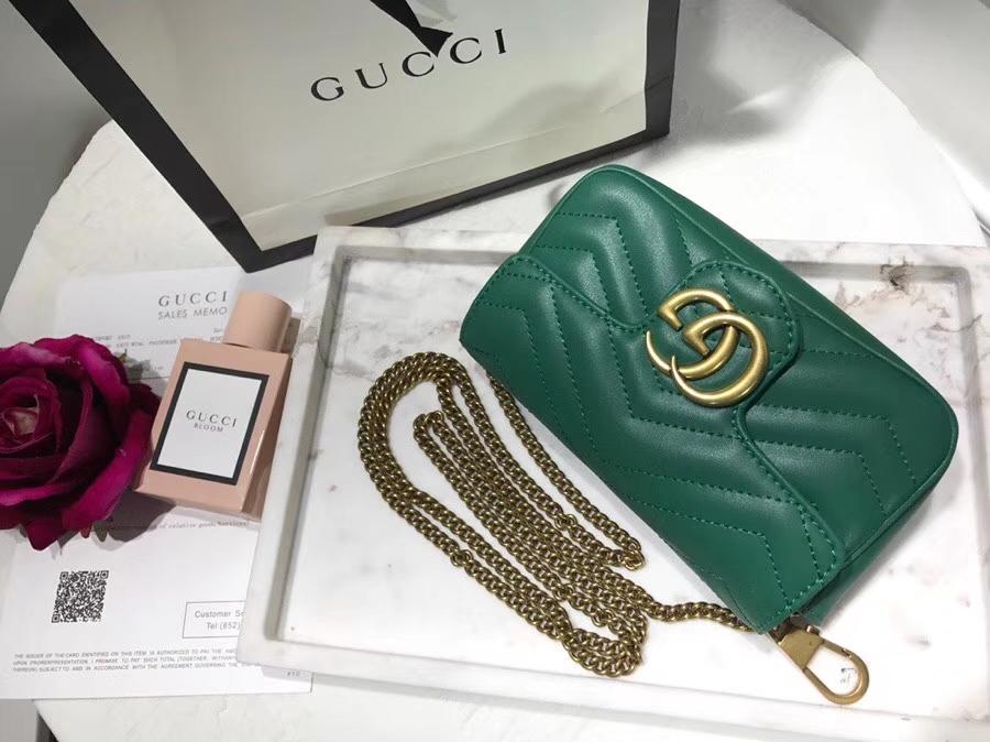 GUCCI最新Marmont 476433 墨绿色 Mini款 真的是美的心都融化了 可爱又迷你 16.5cm