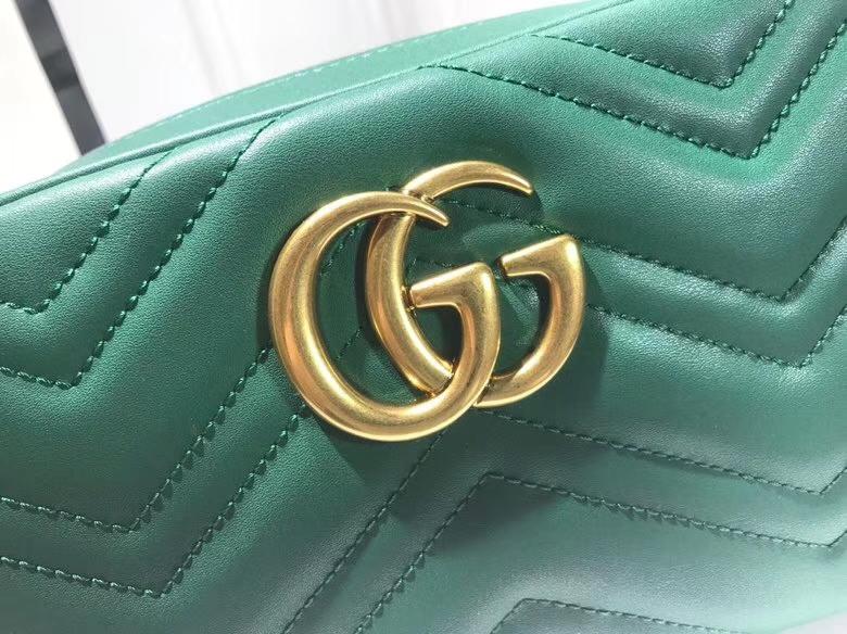 GUCCI最新 Marmont 绗缝链条包 447632 链带波浪纹肩背包 牛皮面料 名模明星最新爱宠 24cm