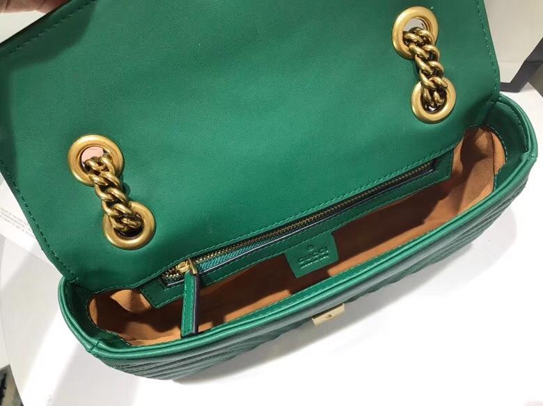 GUCCI最新 Marmont 绗缝链条包 443497 墨绿色 链带波浪纹肩背包 牛皮面料 名模明星最新爱宠 26cm