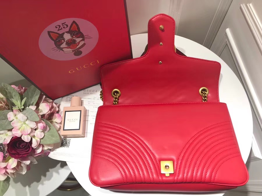 GUCCI Marmont new disco 443496 红色 网红潮人们街拍出镜率超高,款式简单耐看又有质感 31cm