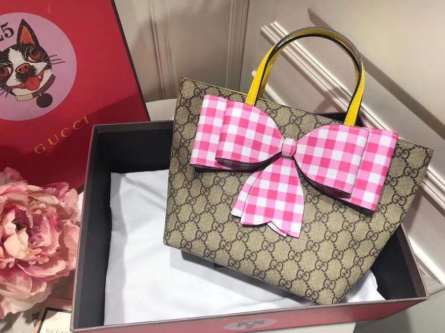 Gucci最萌的mini蝴蝶结卡通购物袋 501804 粉色蝴蝶结 撩翻你的少女心 风靡时尚 21×20×10cm