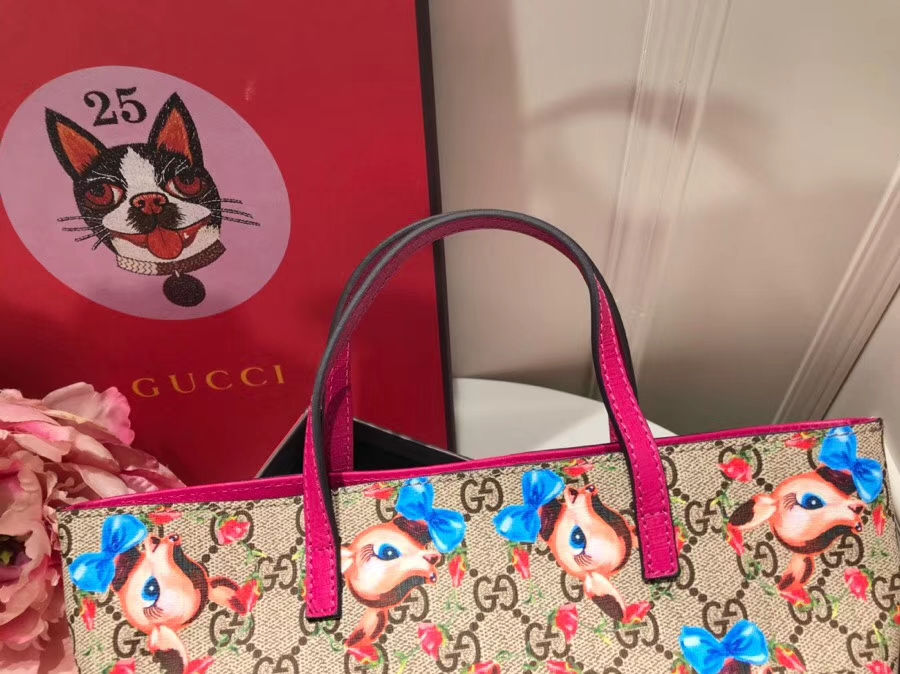 Gucci最萌的mini卡通购物袋 410812,撩翻你的少女心 风靡时尚,萌萌哒融化人心 21×20×10cm
