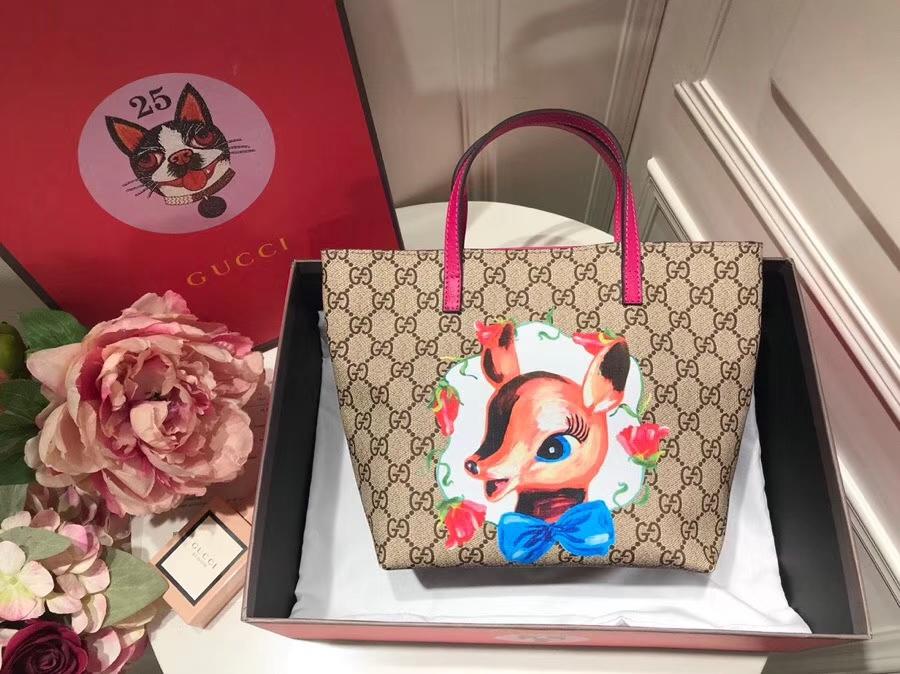 Gucci最萌的mini卡通购物袋 410812 玫红色手挽和内衬 撩翻你的少女,风靡时尚 21-20-10cm