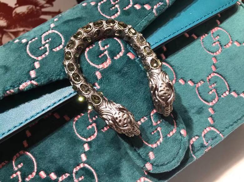 GUCCI Dionysus 499623 孔雀蓝 天鹅绒精心制作,滑链带有多种背法 25×13.5×7cm