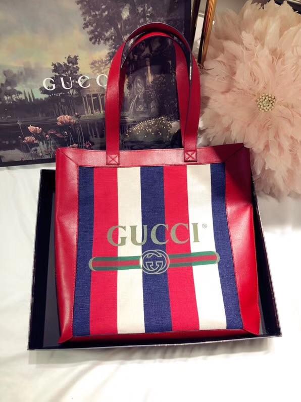 GUCCI 全新系列搭配 Ophidia 购物袋 523718 红蓝白三色碰撞 搭配复古风潮 尺寸41×43×5.5cm