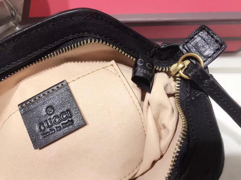 Gucci最新主打RE(BELLE)系列mini手袋 524620 黑色 天然牛皮 手感超赞 经典品牌标志双G造型 29×18×7cm