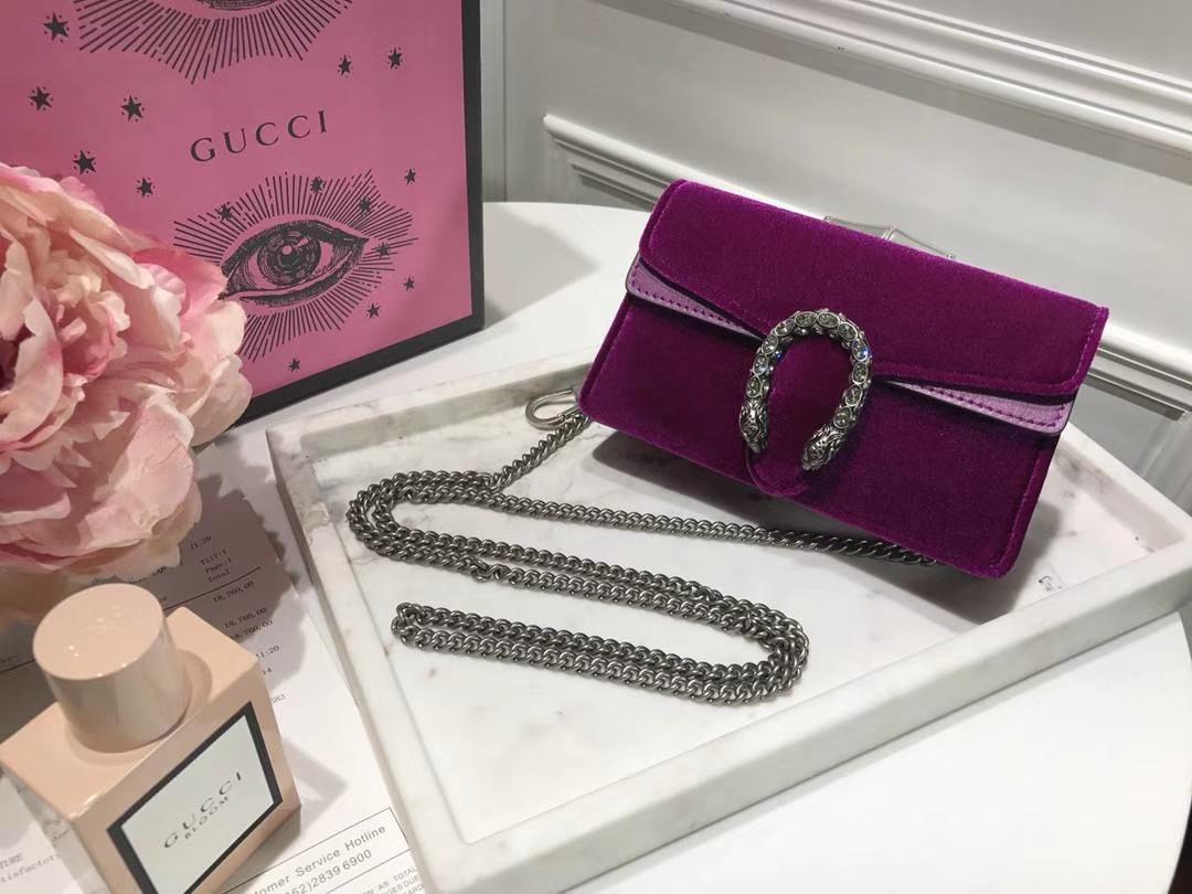 GUCCI 最新Nano Dionysus手袋 476432 紫红色  一款Mini 丝绒酒神包 可爱又迷你 夏天不可缺 16.5cm