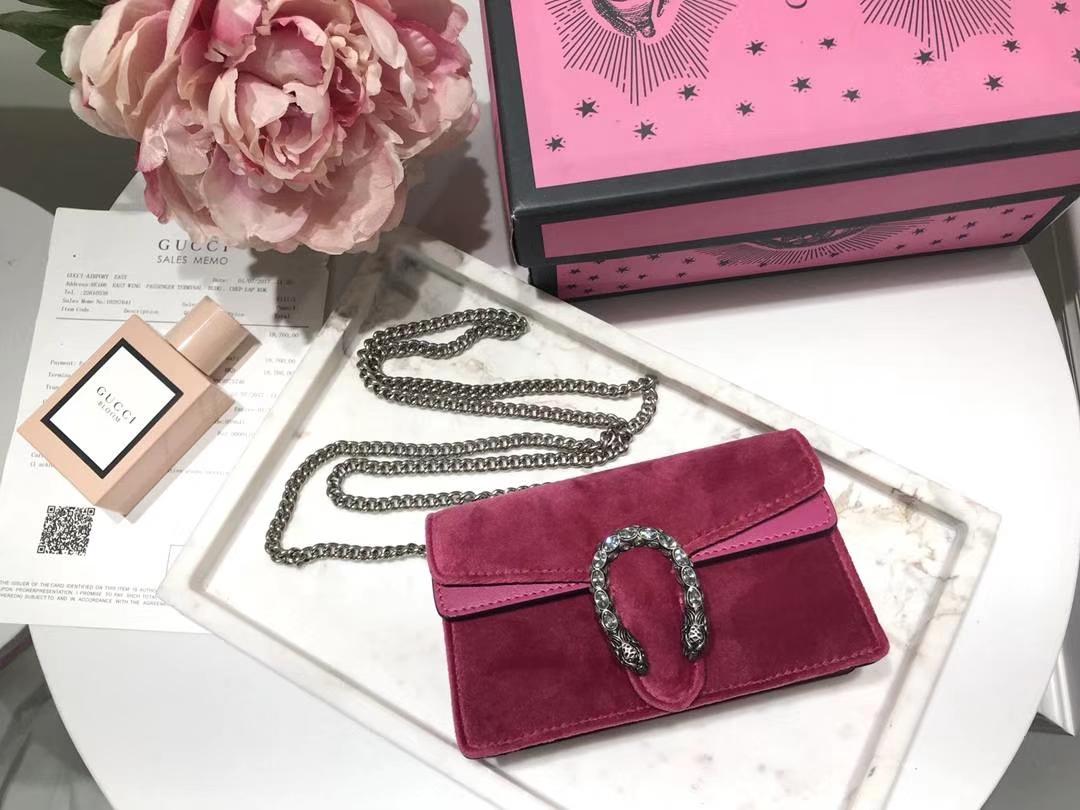 GUCCI 最新Nano Dionysus手袋 476432 玫红色  一款Mini 丝绒酒神包 可爱又迷你 夏天不可缺 16.5cm