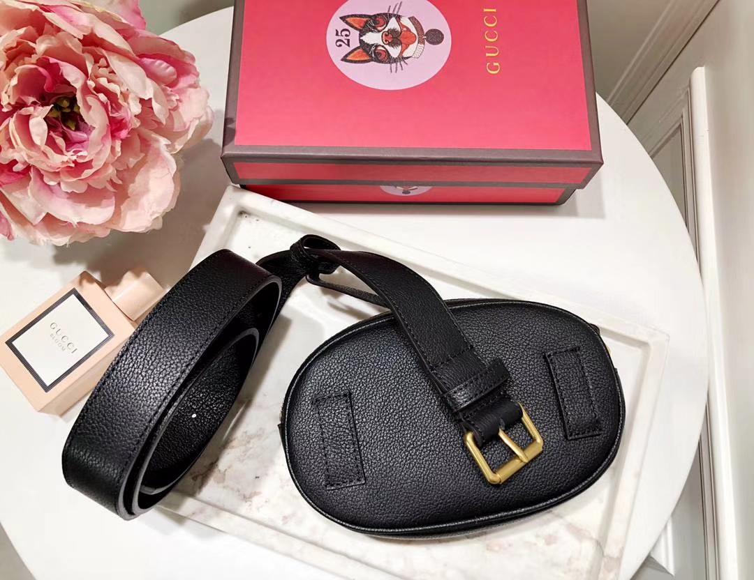 Gucci新款涂鸦腰包 476434 黑色 皮质软 逆袭整个时尚圈 搭配个性风格 Plus手机绰绰有余 18×11×5cm
