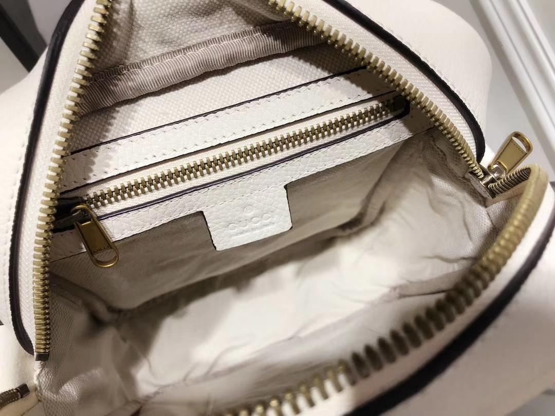 GUCCI 2018年新款斜挎包 523591 白色 进口特制牛皮革搭配进口骨圈 复古图案涂鸦元素 20×15×7cm