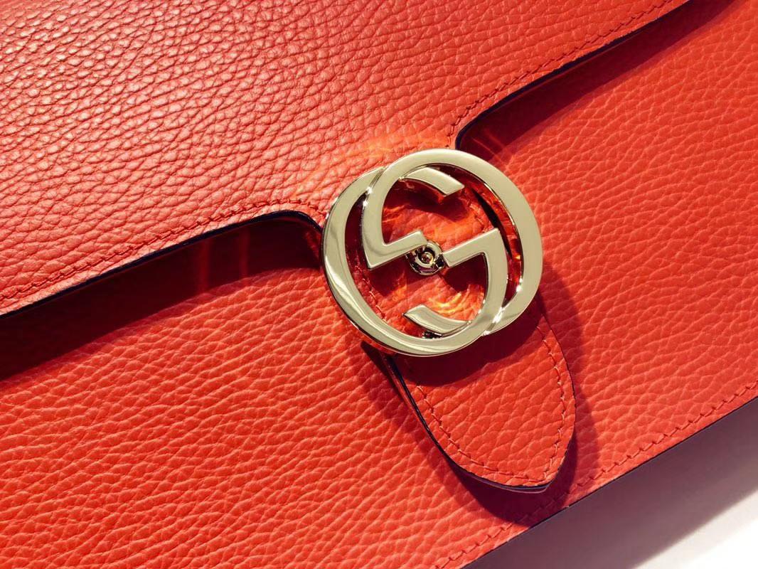 GUCCI 全新爆款 小方包 510303 西瓜红 进口五金配件 皮质柔软 设计玩味时尚 28×19×7cm