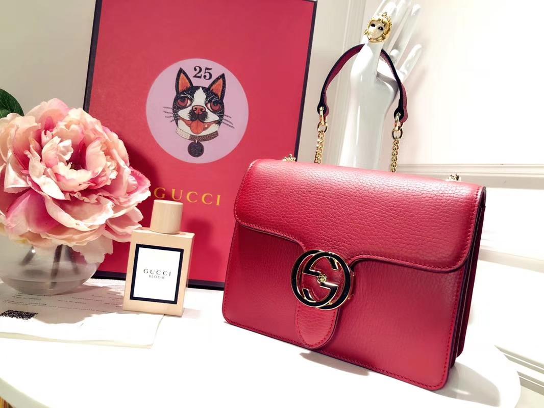 GUCCI 全新爆款小方包 510304 枣红色 进口五金配件 皮质柔软 设计玩味时尚 20×15×7.5cm