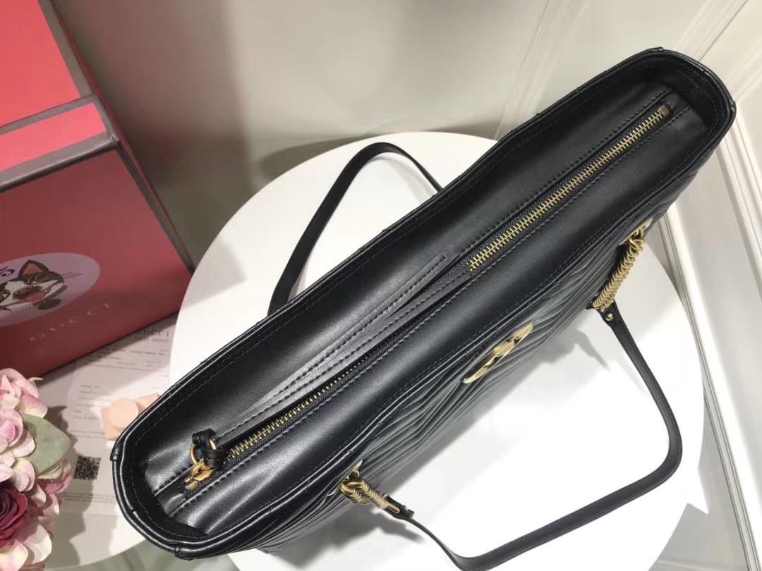 GUCCI 最新 Marmont 绗缝链条包 524578 黑色 链带波浪纹肩背包 牛皮面料 39×27.5×6cm