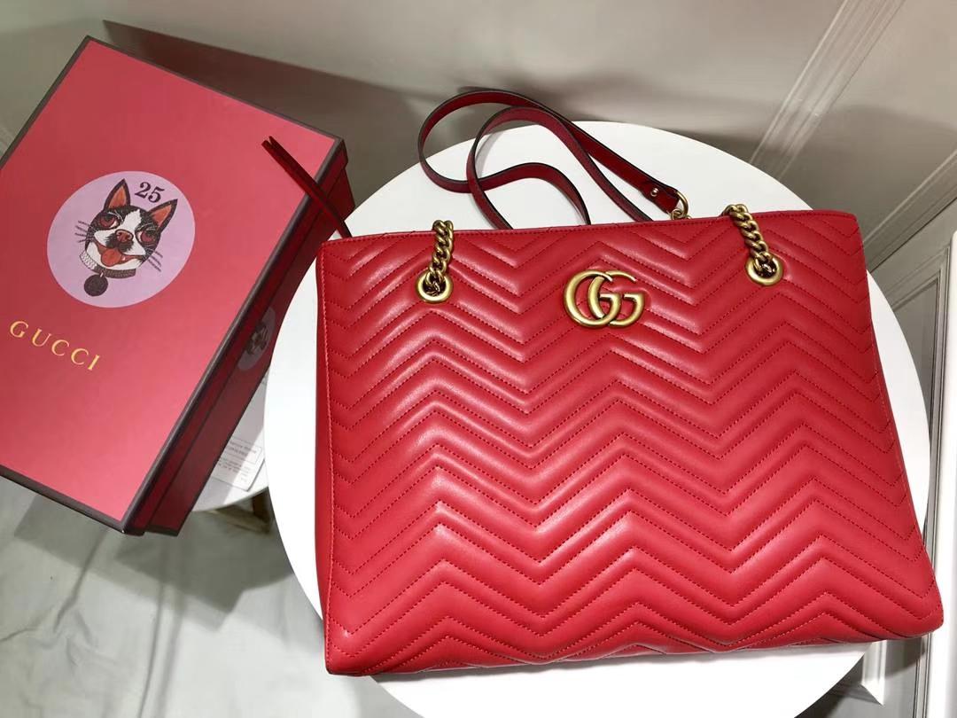 GUCCI 最新 Marmont 绗缝链条包 524578 红色 链带波浪纹肩背包 牛皮面料 39×27.5×6cm