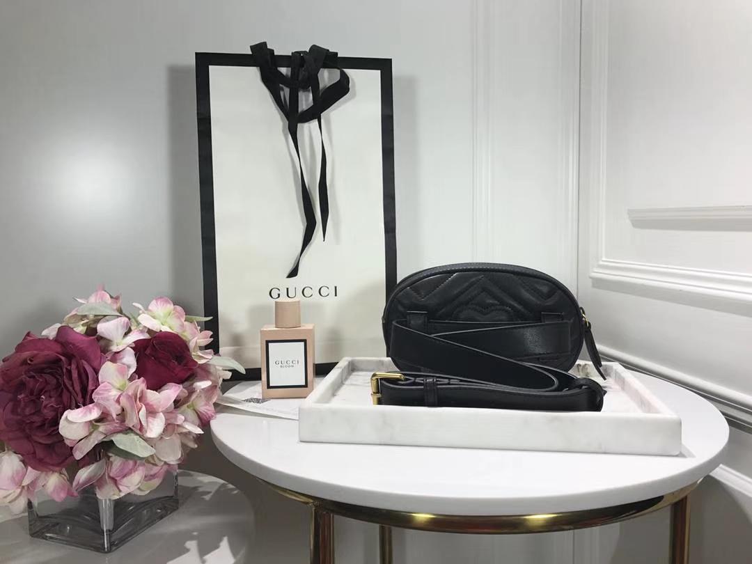 GUCCI最新款腰包 476434 黑色 逆袭整个时尚圈 搭配个性风格 Plus手机绰绰有余 18×11×5cm