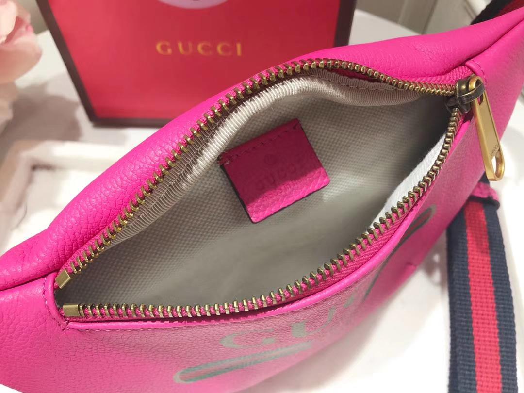 GUCCI爆款涂鸦腰包小号 527792 玫红色 超级mini可爱 俏皮甜美 特别适合女孩子 22×13×6cm
