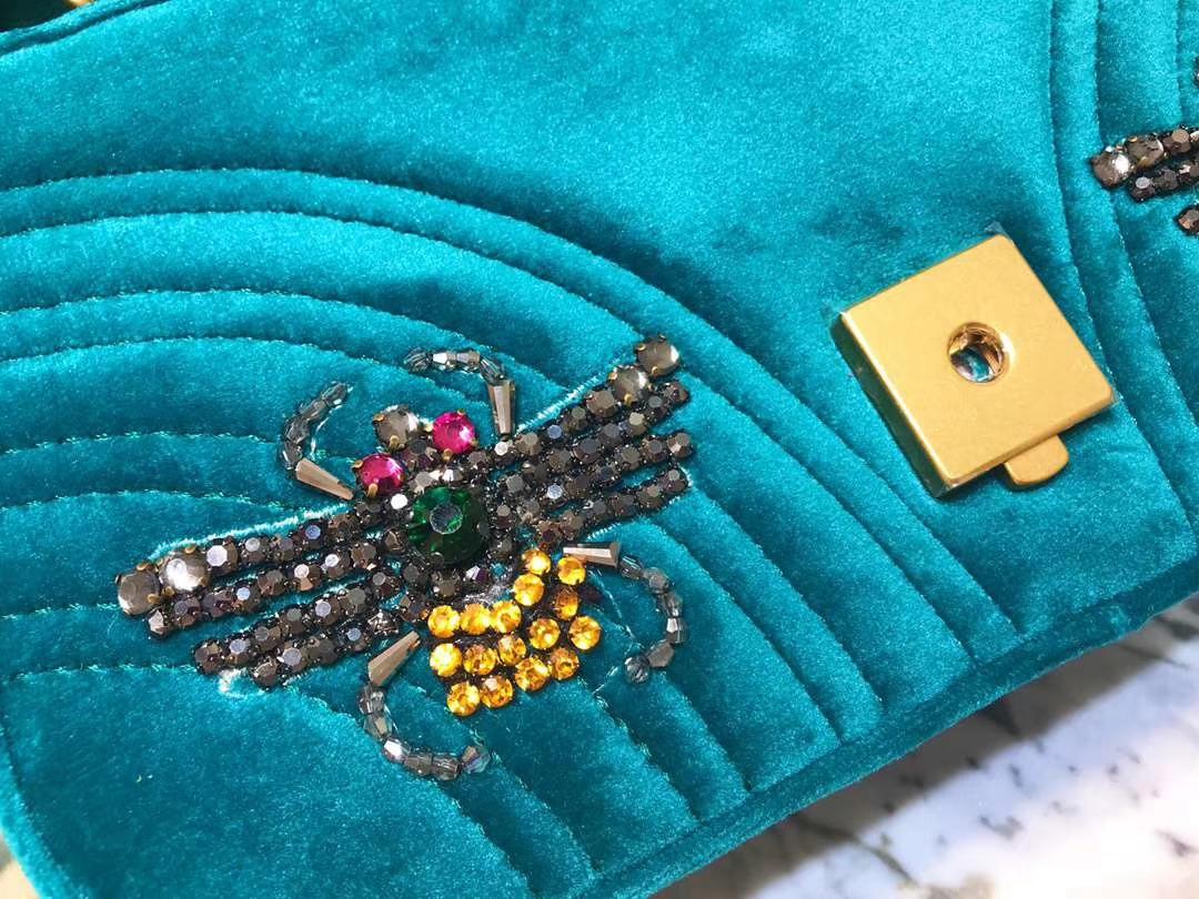 GUCCI(古驰)Marmont 孔雀蓝花朵刺绣条包 446744 天鹅丝绒 时尚博主名模明星最新爱宠小包 22cm