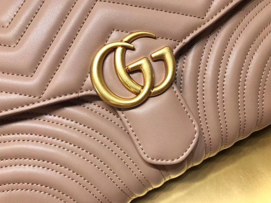 GUCCI(古驰)最新款包波浪纹链条包 498079 皮粉色 精选小牛皮 定制正品黄铜大五金 30×20×4cm