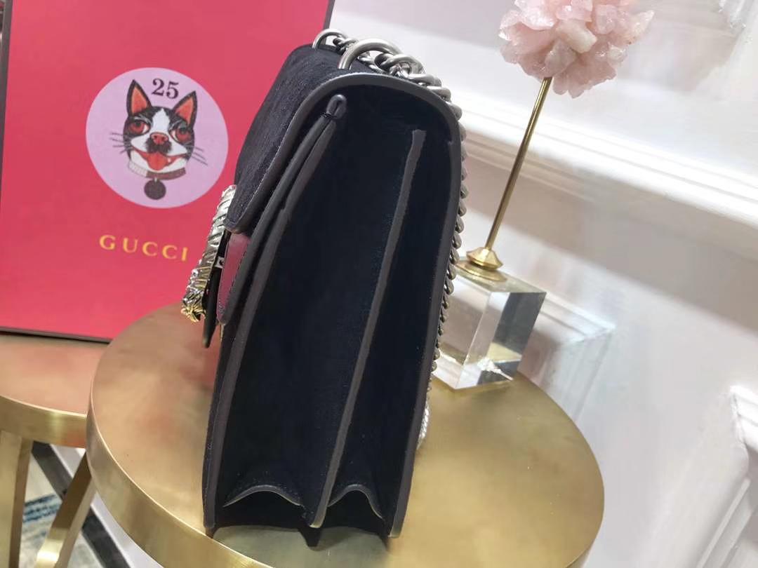 GUCCI(古驰)Dionysus 最火爆虎头扣磨砂皮酒神包 400235 黑色 原单品质 淡雅 清新 时尚 30cm