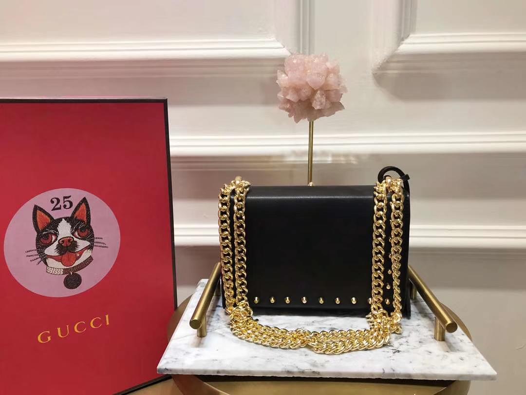 GUCCI(古驰)Padlock 432182 黑色 刺绣系列展现温婉动人 甜蜜特别的创意 20×15.5×5cm