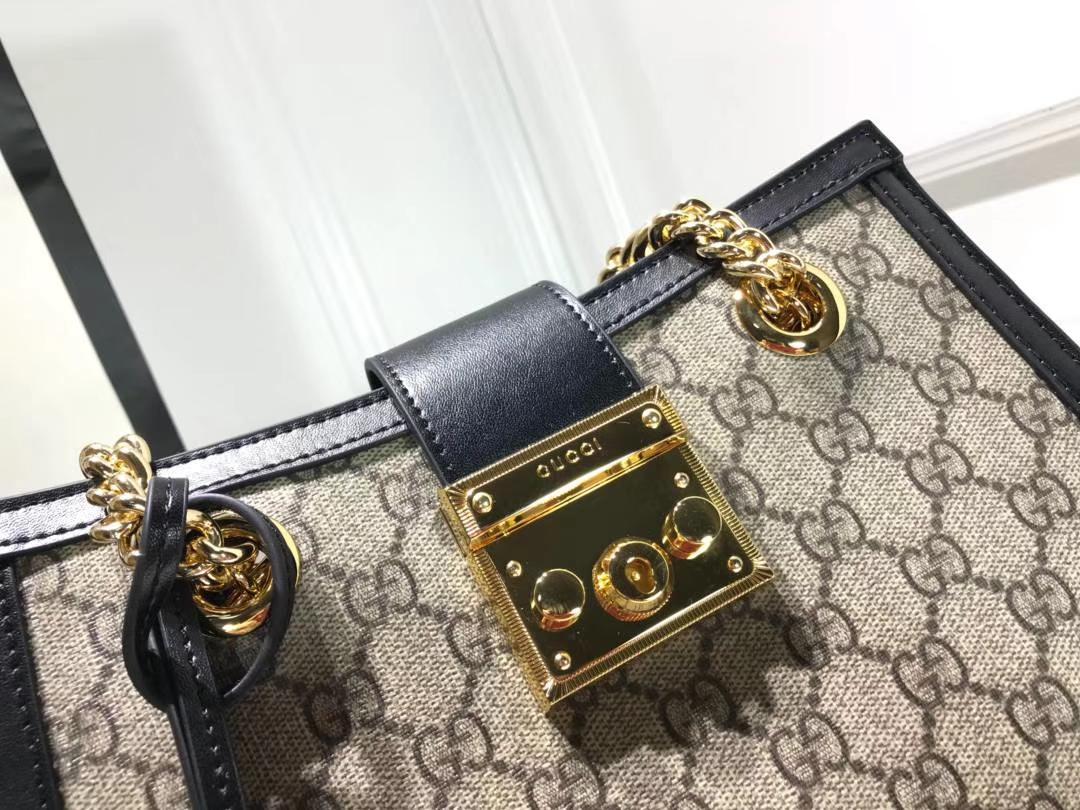 GUCCI(古驰)最新款百搭padlock最火包 498156 复古黑色 犹如文艺少女的时光宝盒 26×18×10cm