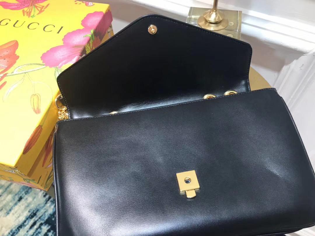 GUCCI(古驰)全新水钻琳琅虎头链条包 537241 黑色 Alessandro Michele 极致浮夸复古文艺 27×17×6.5cm