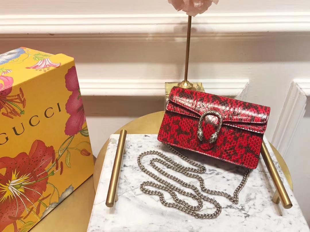 GUCCI(古驰)最新Nano Dionysus 一款Mini 真蛇皮酒神包 476432 红黑色 可爱又迷你 16.5×10×4.5cm