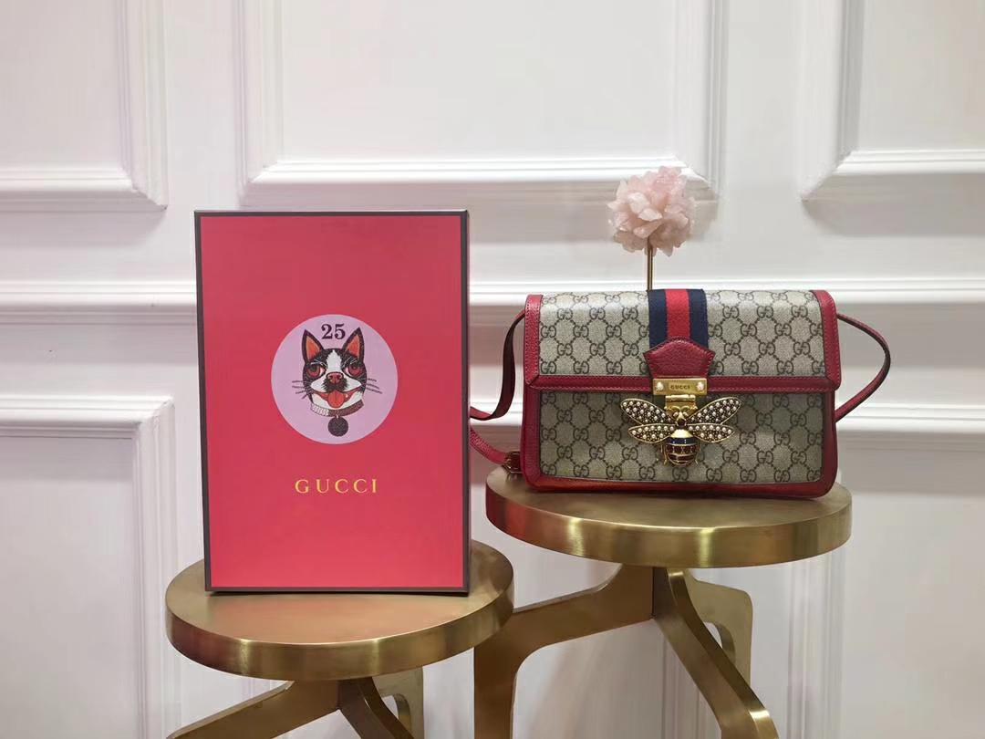 GUCCI(古驰)Queen Margaret 524356 红色镶边 融入Ophidia元素 复古设计蜜蜂锁扣 27×19×8cm