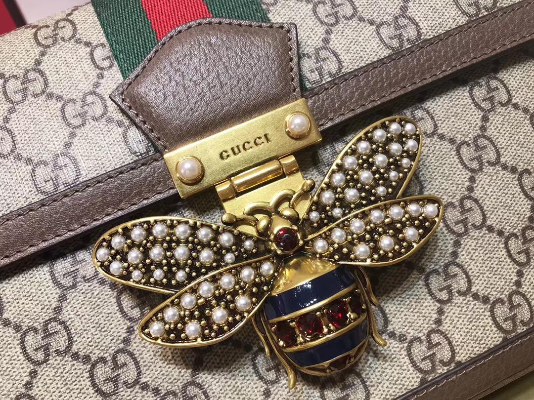 GUCCI(古驰)Queen Margaret 524356 啡色镶边 融入Ophidia元素 复古设计蜜蜂锁扣 27×19×8cm