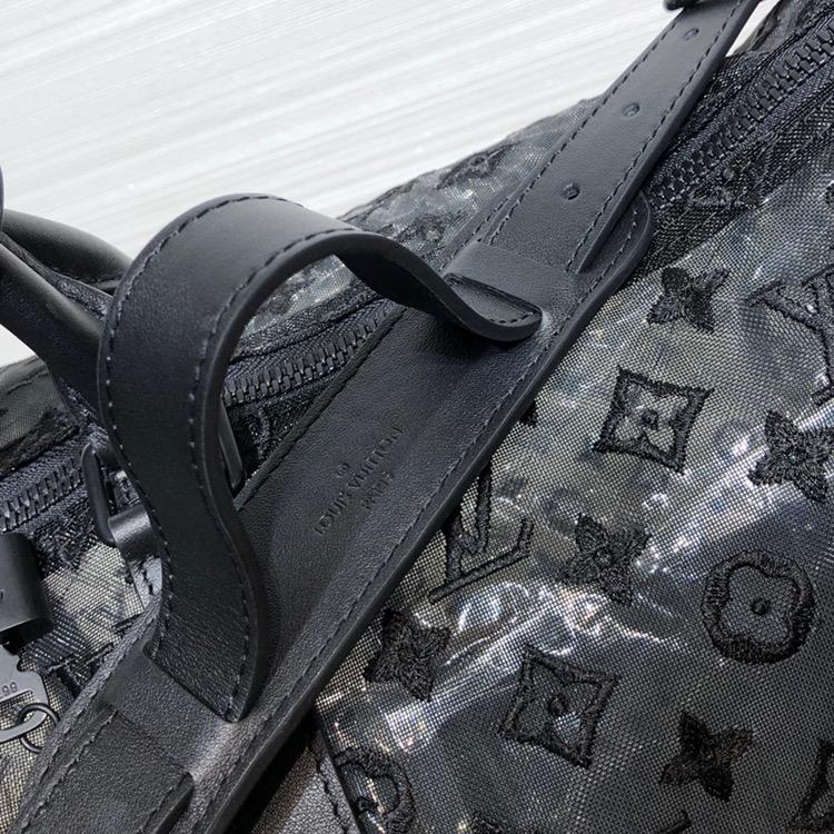 LV包包爆款 网纱效果LV旅行袋56713 蕾丝效果让经典的logo更立体 满满的工艺感定制感